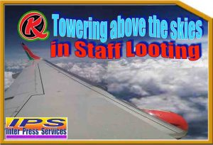 Towering above the skies in staff looting
