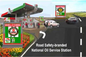 Road Safety branded petrol station