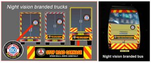 Road Safety branded trucks and bus