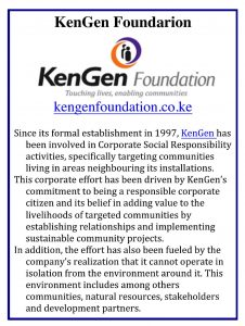 KenGen Foundation ad